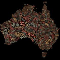 Australian Geographic by Dave Foster Custom lettering for a word map showing over 380 Aboriginal tribes and dialects in their respective locations. Under direction from Mike Rossi. Foster Type is the. Aboriginal Language, Aboriginal Education, Indigenous Education, Aboriginal Culture, Aboriginal People, Indigenous Art, Aboriginal Art, Word Map, Jacky Winter