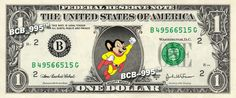 MIGHTY MOUSE on REAL Dollar Bill - $1 Celebrity Collectible Cash Custom Money $