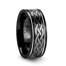 Celtic knot tungsten wedding band