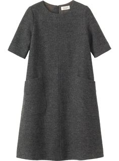 A-line dress with just above elbow-length sleeves and two slanted patch pockets, in a washed, weighty, Italian-woven wool.: