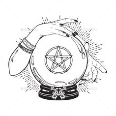 Buy Crystal Ball with Pentagram in Hands of Gypsy by croisy on GraphicRiver. Hand drawn magic crystal ball with pentagram star in hands of fortune teller line art and dot work. Kugel Tattoo, Crystal Ball Tattoo, Art Sketches, Art Drawings, Witch Drawing, Gypsy Drawing, Chic Tattoo, Tattoo Life, Ball Drawing