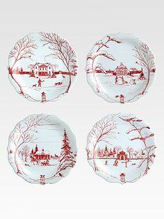 Juliska Country Estate Holiday Party Plates, Set Of 4..so addicted to Christmas china.
