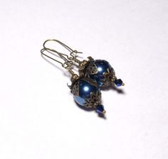 Lovely addition to your jewelry wardrobe or for a gift! Dark Blue Victorian Renaissance Style Earrings Handmade Dangle Antiqued Brass Visit my eBay store for details. www.grammysbargains.com