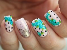 Blue Floral Nail Art with Cute Polka Dots