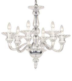 Odetta crystal chandelier - hand-blown smooth crystal glass chandelier
