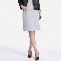 UNIQLO women's high waist drape wrap skirt in blue