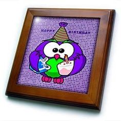 """Adorable Birthday Purple Lime n Fuchshia Birthday Owl On Purple Dotted Background - 8x8 Framed Tile by 3dRose. $22.99. Solid wood frame. Inset high gloss 6"""" x 6"""" ceramic tile.. Cherry Finish. Dimensions: 8"""" H x 8"""" W x 1/2"""" D. Keyhole in the back of frame allows for easy hanging.. Adorable Birthday Purple Lime n Fuchshia Birthday Owl On Purple Dotted Background Framed Tile is 8"""" x 8"""" with a 6"""" x 6"""" high gloss inset ceramic tile, surrounded by a solid wood frame w..."""