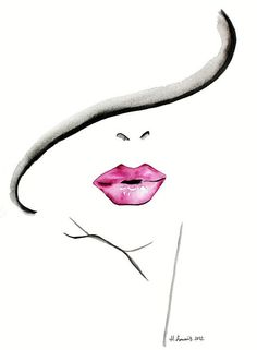 Original Fashion and Beauty Illustration of womans lips by Helen Simms, simple watercolour portrait painting art print Watercolor Portrait Painting, Easy Watercolor, Watercolor Fashion, Painting Art, Simple Watercolor Paintings, Mouth Painting, Dress Painting, Watercolor Water, Portrait Paintings