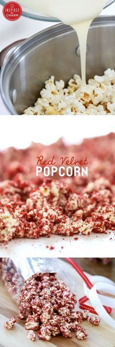Red Velvet Popcorn - Please consider enjoying some flavorful Peruvian Chocolate… Gourmet Popcorn, Popcorn Recipes, Snack Recipes, Dessert Recipes, Cooking Recipes, Popcorn Snacks, Flavored Popcorn, Popcorn Bar, Yummy Treats