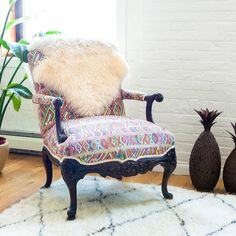 """This is another chair I upholstered for a photo shoot using textiles from my collection. It was a huge project for just one photo, but in the end I'm very happy to have some unique pieces for my apartment."""