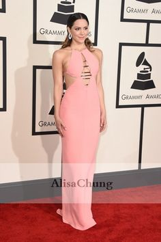 Katharine McPhee Pink Evening Prom Gown Celebrity Dresses Grammys 2015