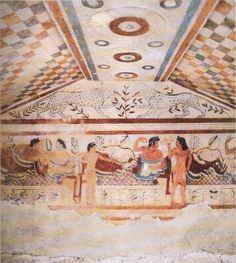 Tarquinia, tombe des Leopards, mur du fond, scene de banquet avec 3 couples allonges sur des klinai, fronton orne de 2 leopards, vers 480 av JC (musee de Lyon).