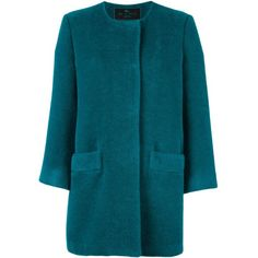Etro collarless coat ($1,184) ❤ liked on Polyvore featuring outerwear, coats, green, etro coat, blue coat, etro, green coat and collarless coat