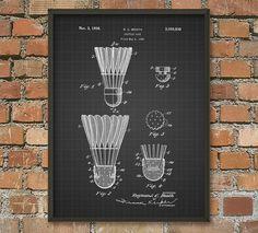 Cópia da patente do galo da canela do Badminton - projeto do equipamento do Badminton - cartaz da arte do Badminton - raquete do Badminton - galo da canela 1936 - Badminton Rules, Badminton Sport, Galo, Patent Prints, String Art, Decoration, Etsy, Sports, Design