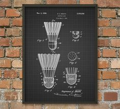 Badminton Shuttle Cock Patent Print - Badminton Equipment Design - Badminton Art…