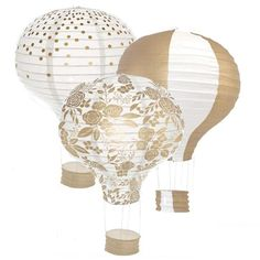 Perfect for baby showers, bridal showers, and travel-themed events, our hot air balloon shaped paper lanterns make gorgeous decor! String from the ceiling and be whisked away on a ballooning adventure. Use as a DIY party centerpiece!