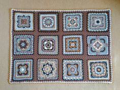 26 July 2016 Time to tackle some more ambitious Polly Plum squares for a cosy Afghan, cushion cover, wall hanging… whatever takes my fancy. Crochet Square Blanket, Granny Square Crochet Pattern, Crochet Squares, Granny Squares, Crochet Mandala Pattern, Crochet Stitches Patterns, Stitch Patterns, Knitting Patterns, Free Knitting