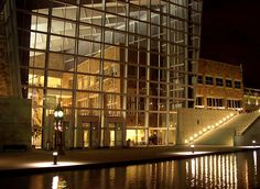 Indiana State Museum across canal at night /  Downtown Indianapolis, Indiana, USA