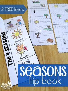 One of the fun and hands-on activities from my Seasons Unit Study is this 4 Seasons Flip Book. Actually, there are two seasons flip books included: one that's more picture-based with simple langua Seasons Worksheets, Seasons Activities, Weather Activities, Hands On Activities, Science Activities, Kids Worksheets, Printable Worksheets, Free Printable, Seasons Kindergarten