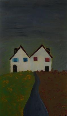 """pittura su legno """"Case sull'isola"""""""
