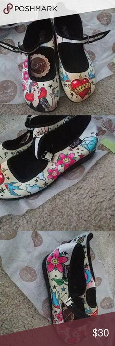 Chocolaticas Tattoo Flash rockabilly Mary Janes Cute never worn, still has tags. They are super comfy but they run big so if you are a 7 these might be too big for you. They fit me and I'm a 7.5-8.  And don't forget, as always 3-5 luxury makeup samples with every purchase! Modcloth Shoes Wedges