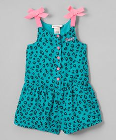 what I found on Juicy Couture Teal & Pink Leopard Romper - Toddler & Girls by Juicy Couture Baby Girl Frocks, Frocks For Girls, Baby Girl Dresses, Baby Dress, Kids Outfits Girls, Little Girl Outfits, Baby Girl Fashion, Kids Fashion, Baby Frocks Designs