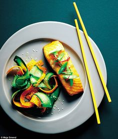 Baked miso-marinated salmon with a cucumber, carrot and sesame salad and chilli topping Marinated Salmon, Seafood Recipes, Entrees, Cucumber, Carrots, Fish, Baking, Ethnic Recipes, Bakken