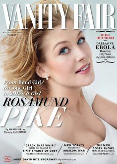 Pin for Later: Kim Kardashian Took On a Designer Dare For Love Magazine Vanity Fair February 2015 Rosamund Pike photographed by Mario Testino. V Magazine, Vanity Fair Magazine, Magazine Covers, Mario Testino, Jennifer Aniston, Marie Claire, Cosmopolitan, Rosamund Pike Gone Girl, Rosemund Pike