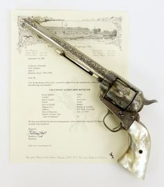 Engraved Colt Model 1873 with monogrammed mother of pearl grips, produced in from Collectors Firearms Colt Single Action Army, Single Action Revolvers, Revolver Pistol, Neck Bones, Outdoor Survival Gear, Lever Action Rifles, Colt 45, Military Guns, Prop Design