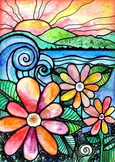 Gorgeous work by Robin Mead using Faber-Castell Watercolor Pencils. The post From a Distance beach waves flowers art print garden painting sunset art print sun appeared first on Gardening. Watercolor Pencils, Watercolor And Ink, Watercolor Paintings, Watercolor Techniques, Easy Paintings, Watercolor Landscape, Watercolors, Garden Painting, Painting & Drawing
