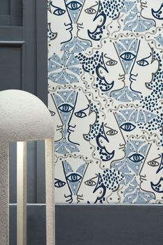 """Intricate details and striking imagery fill this design with a quirky statement style, inspired by Cocteau's """"Jeunesse Franco - Allemande"""". Seen here in the Azur colourway. Blue Wallpapers, True Colors, Bedroom Ideas, Fill, Heaven, Inspired, Design, Home Decor, Style"""