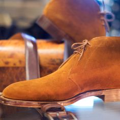 Maximum versatility- Edward green suede chukka boot, I'm wearing them today! Natural antique edge sole made in England- a Jim favorite!