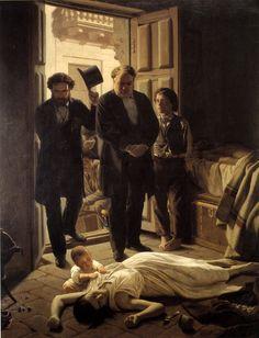 """Un episodio de la fiebre amarilla en / An Episode on the Yellow Fever in Buenos Aires"" Óleo sobre tela / oil on canvas, 230 x 180 cm., c.1871"