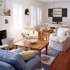 Country chic open living-dining...this looks like a little old