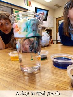 Two, no, THREE of our new favorite Science experiments. Gravity, mass, liquids, and weather. Fun experiments that are both colorful and informative. Rainbow cloud in a jar would be really fun for a weather sensory experiment.
