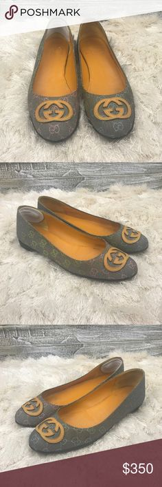 Authentic Gucci Leather & Fabric Flats - 38.5 ⭐️ Beautiful Authentic Women's Dalta in Leather and Fabric with Signature G on the toes ⭐️ Great condition  ⭐️ Super comfortable ⭐️ Model: 199548 ⭐️ Size: 38.5 EUR, 8.5 US Gucci Shoes Flats & Loafers