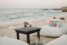 beach wedding linen lounge area at reception