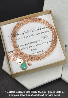 Wedding Mother In Law Gift,Thank You For Raising The Man Of My Dreams,bridal jewelry,mint green bracelet,monogram gifts, Bride Mother,bangle   - bangle set of 10 interlocking ( all together , not seprately ) - Drop : mint opal as show . Other color available upon request - 1 bird charm , i can stamp anything up to 7 letters/7 characters on this charm .When you place order , on note to seller box at check out , please leave me a note for what to stamp on the charm -1 tree charm pendant -1...