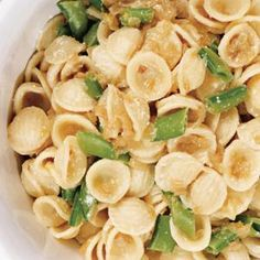Orecchiette with Caramelized Onions, Sugar Snap Peas, and Ricotta Cheese from Bon Appetit, found @Edamam!