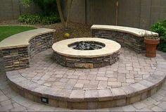 Circle round bench fire pit ring
