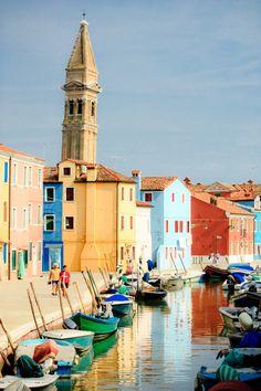 Canals of Burano, Veneto, Italy