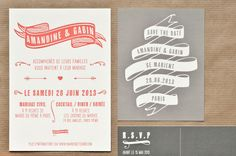 Faire-part de mariage original Gabin letterpress - Mister M Studio