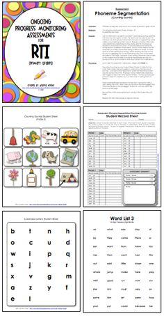 """LINK to """"Ongoing Progress Monitoring Assessments for RTI"""" :  http://www.teacherspayteachers.com/Product/Ongoing-Progress-Monitoring-Assessments-for-RTI-K-2-278137 This 56-page download includes teacher directions, student probes, and recording sheets for early primary children.  Monitor letter identification, letter sounds, rhyming, segmenting, blending, and more.  $"""