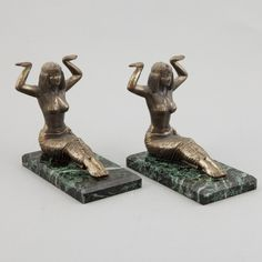Pair of Art Deco Marble and Brass Egyptian Figural Bookends