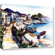 ArtWall Bill Drysdale Nafpaktos Gallery-Wrapped Canvas, Size: 36 x 48, Brown
