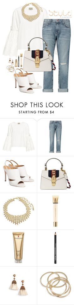 """""""STYLD   Brunch Lady"""" by blinking-beauty ❤ liked on Polyvore featuring Sea, New York, Current/Elliott, Gucci, Amrita Singh, Yves Saint Laurent, Elizabeth Arden, NYX, Loren Hope and ABS by Allen Schwartz"""