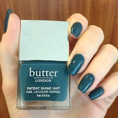 A deep teal crème polish with a glossy shine and Dense Curved Brush. The Non-Toxic Nail Polish Formula Helps Strengthen Nails. Butter London Bang On, Lipstick Colors, Nail Colors, Butter London Patent Shine, Healthy Nails, Deep Teal, Bangs, Nail Art, Makeup