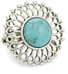 "Lucky Brand ""Bohemian"" Silver-Tone Blue Set Stone Ring"
