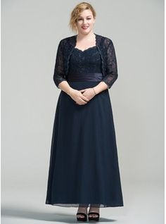A-Line/Princess Sweetheart Ankle-Length Chiffon Lace Mother of the Bride Dress (008077030) - Mother of the Bride Dresses - JJsHouse