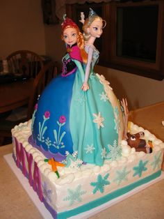 Elsa and Anna Frozen double doll cake by  Sugar and Patience  Olfa and sven  fondant and buttercream #dollcake #frozen